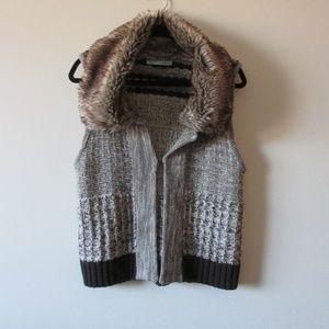 Maurices Large Cable Knit Cardigan Vest Faux Fur